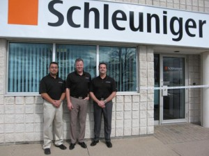 Mauricio Valdebenito, service engineer, Schleuniger Canada; Harry Coates, Canadian regional sales manager, Schleuniger Canada; Darren Teasck, president, managing director, Schleuniger USA.
