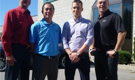 From left to right: Kevin Marion, regional sales manager, Central US, Canada, Tech Spray; Doug Ngai, product manager, process chemicals, ITW contamination control; Christian Legiehn: and Greg Telfer, both of EMX Enterprises Ltd.