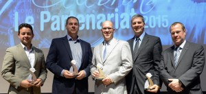 From left: Oussama Moutanabbir, professor, Ecole polytechnique de Montreal, Paul Charette, professor, Universit de Sherbrooke, Claude Jean, executive vice-president and general manager, Teledyne DALSA, Normand Bourbonnais, president and CEO, C2MI and Pascal Monette, general manager at ADRIQ.