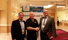 Randy Johnson of N2Power (centre) stands between Irwin Industrial's Trevor Sinclair (left) and Brad Jolly (right) at the recent EDS Show held in Las Vegas this May.