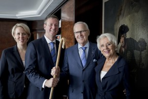 Philip Harting (2nd from left) succeeded his father Dietmar Harting (3rd from left) as chairman of the board this month. The two presidents and general partners are managing the Harting Technology Group together with Margrit Harting, (right) senior vice-president and partner, and Maresa Harting-Hertz (left), senior vice-president finance and purchasing, as well as president and general partner, in the second and third generation.