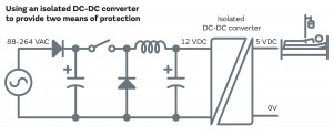Figure 2 – using an isolated dc-dc converter to provide two means of protection.