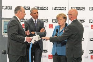 US President Barack Obama visited the Phoenix Contact booth at the Hannover Messe in Germany. The president and German Chancellor Angela Merkel met with Frank Stuehrenberg, Phoenix Contact CEO, and Jack Nehlig, president of Phoenix Contact USA as part of the Hannover Messe exhibition.