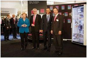 German Chancellor Angela Merkel, Rittal CEO & owner Dr. Friedhelm Loh, Barack Obama, US President, Gregg Holst, president of Rittal North America.