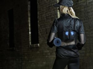 Jacket with integrated printed lighting element. PHOTO CREDIT: Myant & Co.