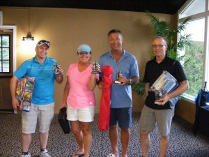 The 'Most Honest' foursome trophy went to Chris Kiss, Simcona; Caroline King, CCX Freight; Ritch Mackie, MG Chemicals; and Paul Meunier, Hoffmann/Pentair.