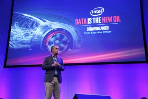 Brian Krzanich, Intel Corporation CEO, presents a keynote address at the Automobility LA conference on Tuesday, Nov. 15, 2016. Addressing automotive and technology industry representatives, Krzanich talks about how the automotive industry is on the cusp of a major transformation, demanding unprecedented levels of computing, intelligence and connectivity. (Credit: Intel Corp.)ion)