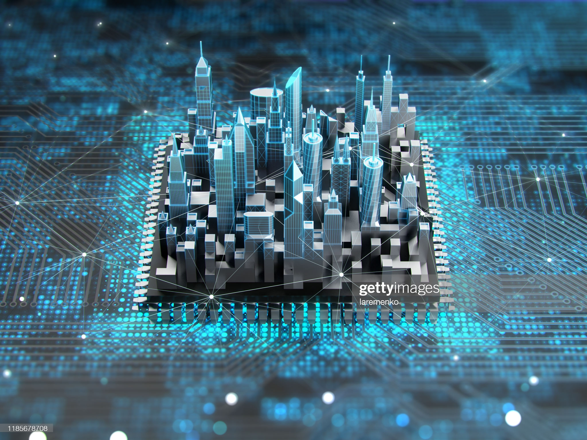 Futuristic city on motherboard with cpu. Concept of smart technology.