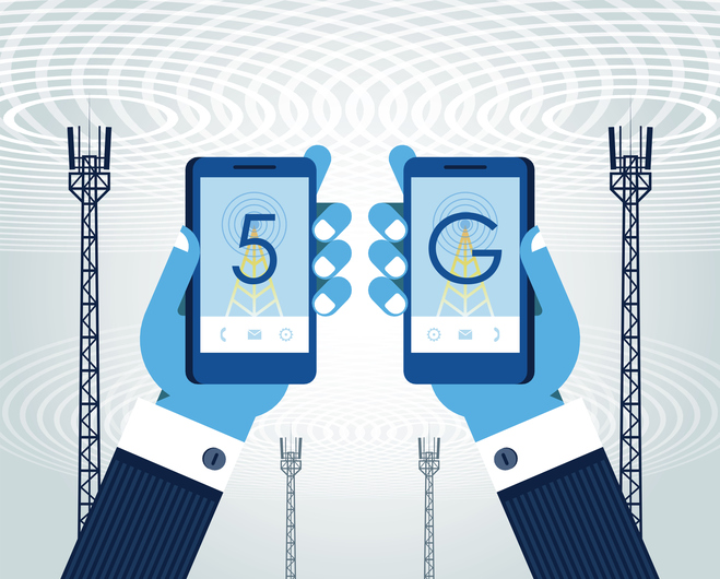 """5G networks concept. Businessman is using smart phone with 5G wireless communication. The word """"5G"""", smart phone and antenna (telecommunication tower). Industry 4.0, Smart factory, Internet of Things."""