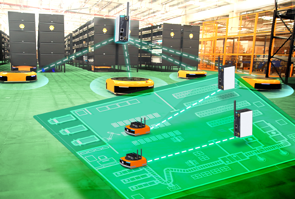 Factory Automation with AGV and robotic arm in transportation to